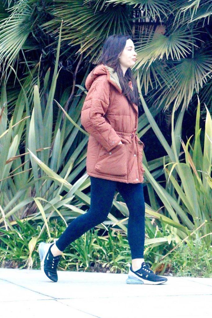Crystal Reed in a Black Leggings