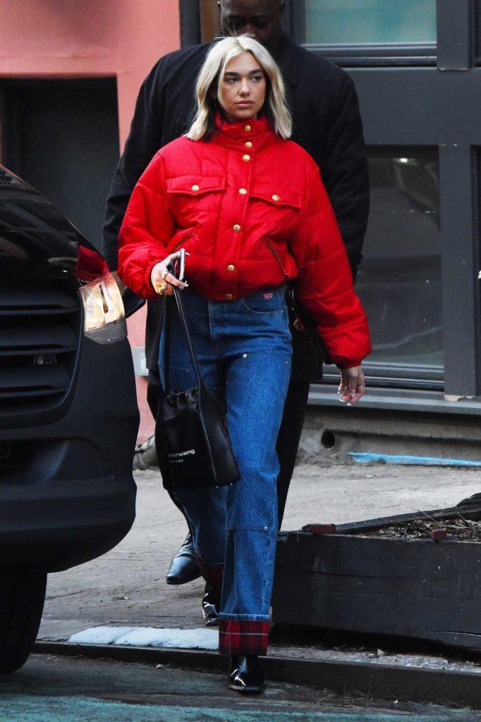 Dua Lipa in a Red Jacket