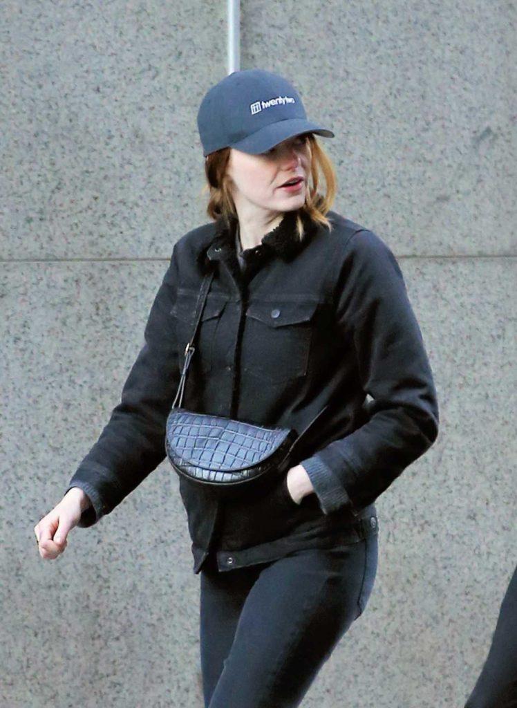 Emma Stone in a Blue Cap