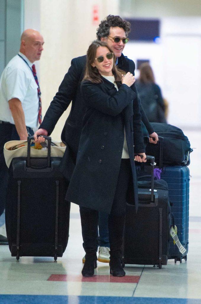 Felicity Jones in a Black Coat