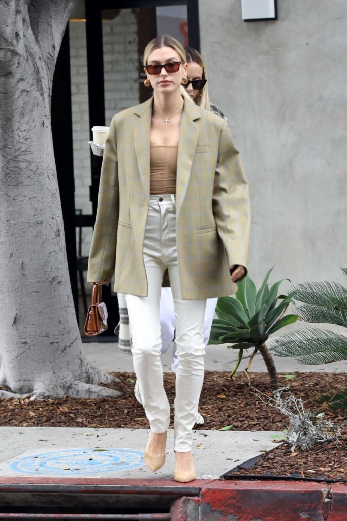 Hailey Baldwin in a White Pants