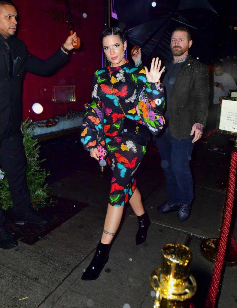 Halsey in a Black Butterfly Print Dress