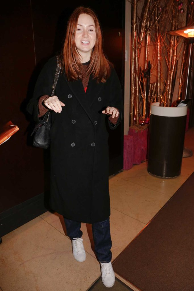 Karen Gillan in a Black Coat
