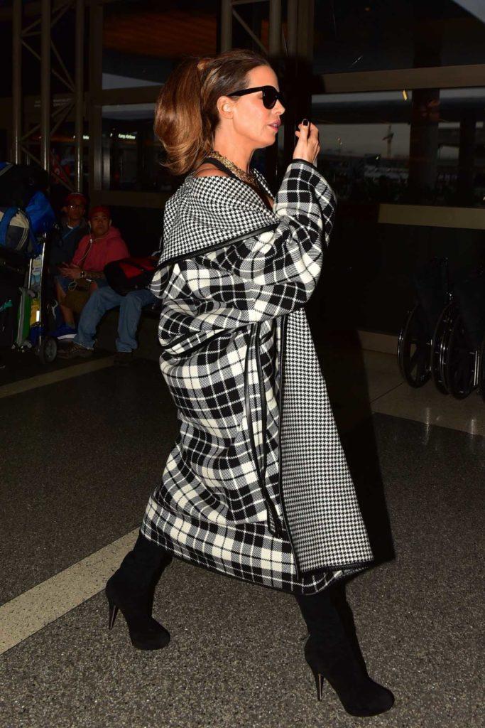 Kate Beckinsale in a Plaid Coat
