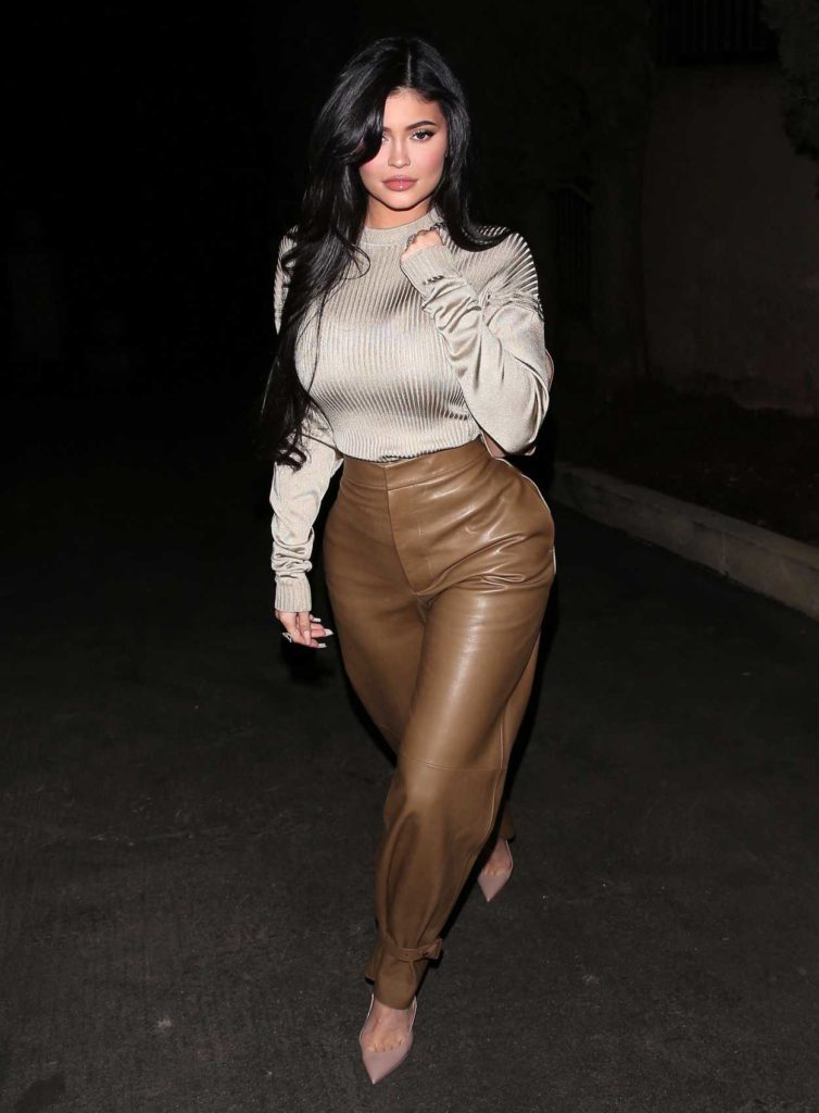 Kylie Jenner in a Brown Leather Pants