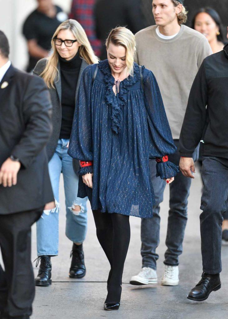 Margot Robbie in a Blue Dress