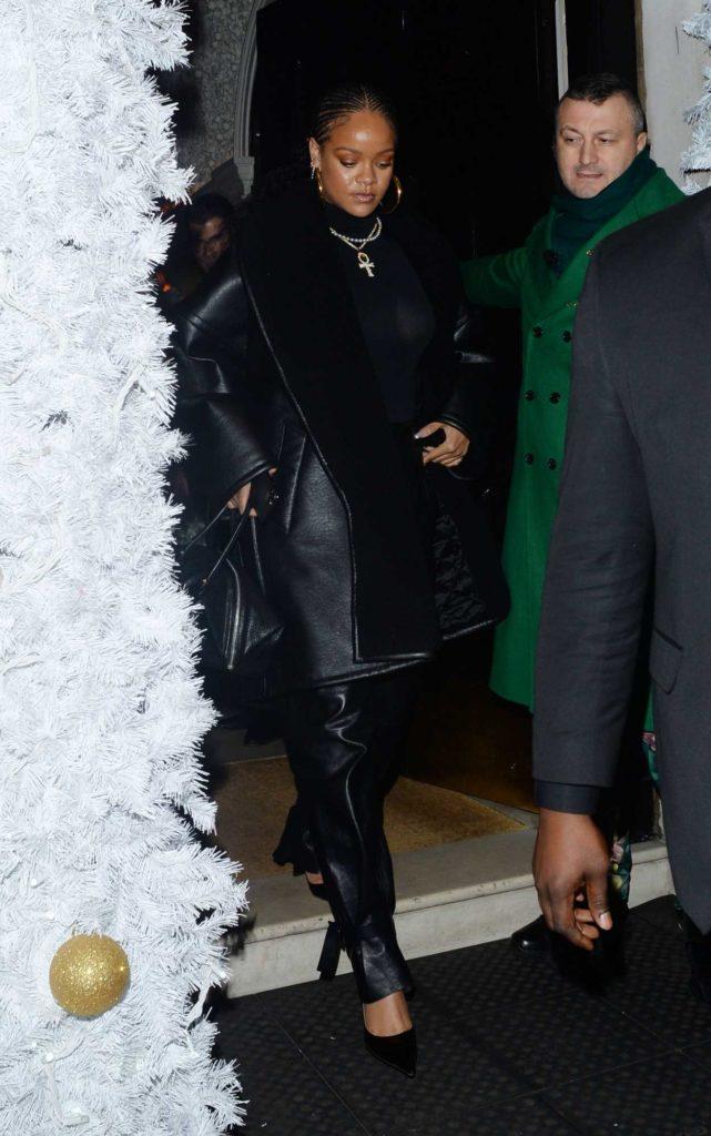 Rihanna in a Black Sheepskin Coat