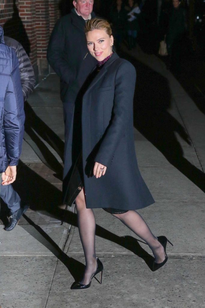 Scarlett Johansson in a Black Coat