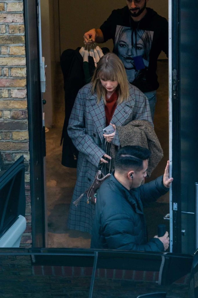 Taylor Swift in a Plaid Coat