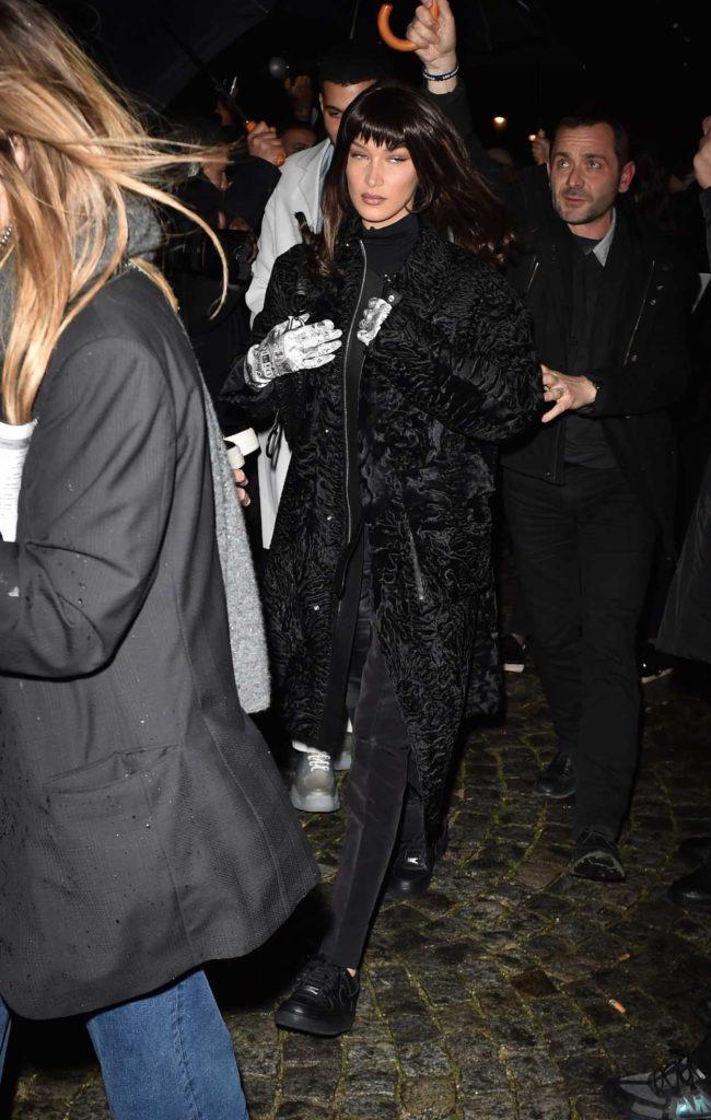Bella Hadid in a Black Fur Coat