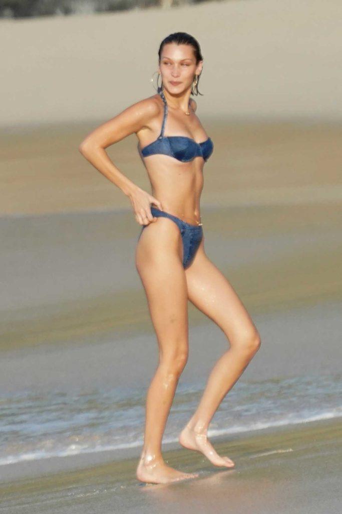 Bella Hadid in a Blue Bikini