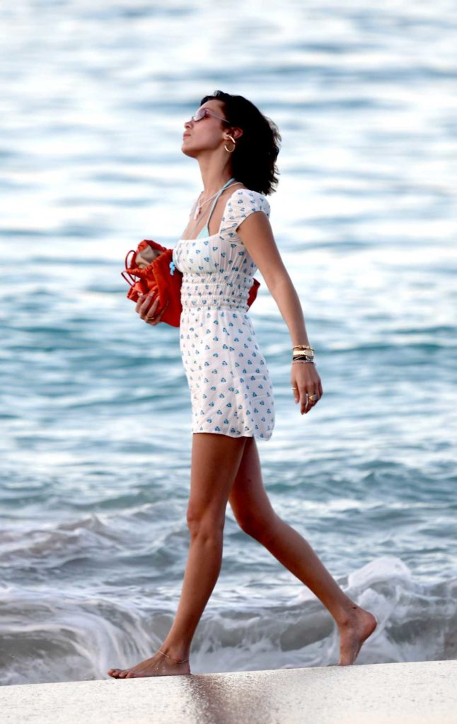 Bella Hadid in a White Floral Dress