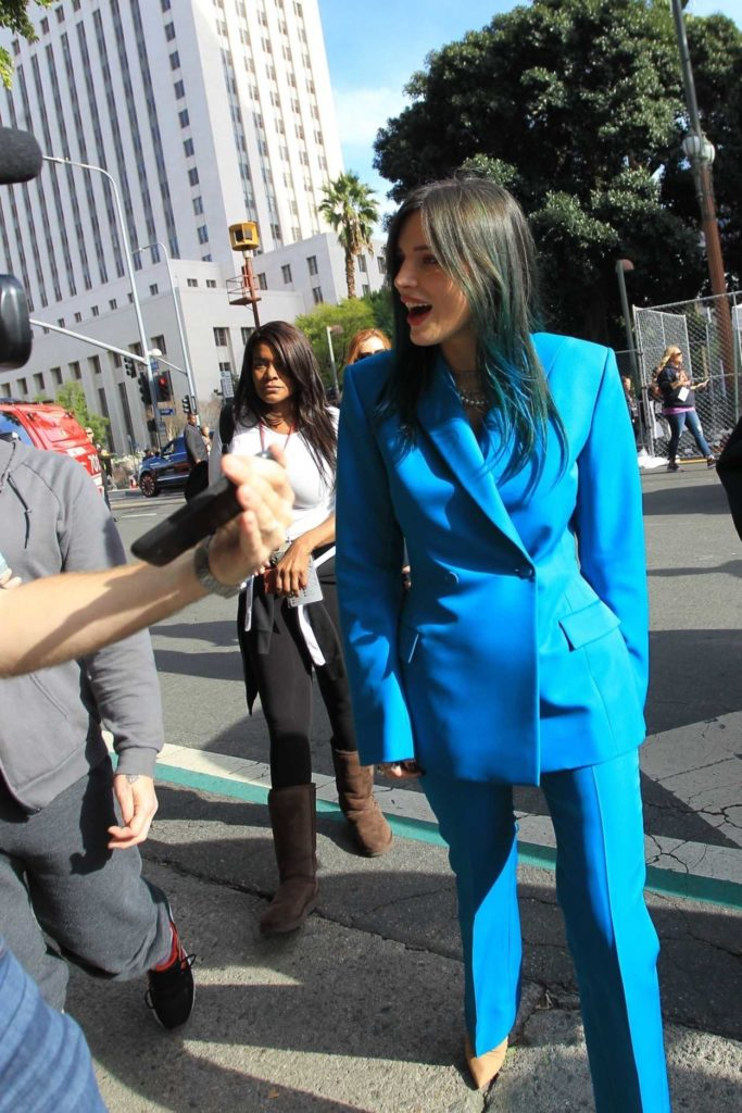 Bella Thorne in a Blue Suit