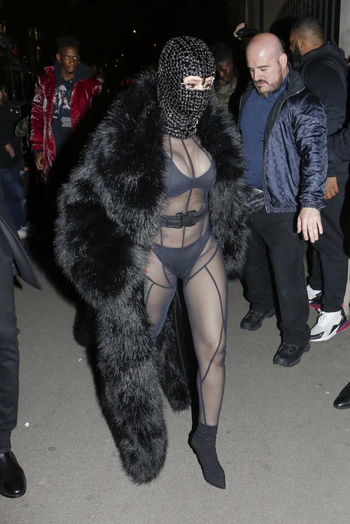 Cardi B in a Black Fur Coat