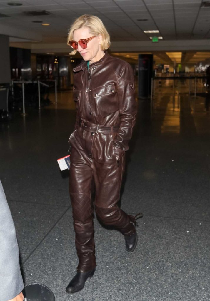 Cate Blanchett in a Brown Leather Jumpsuit