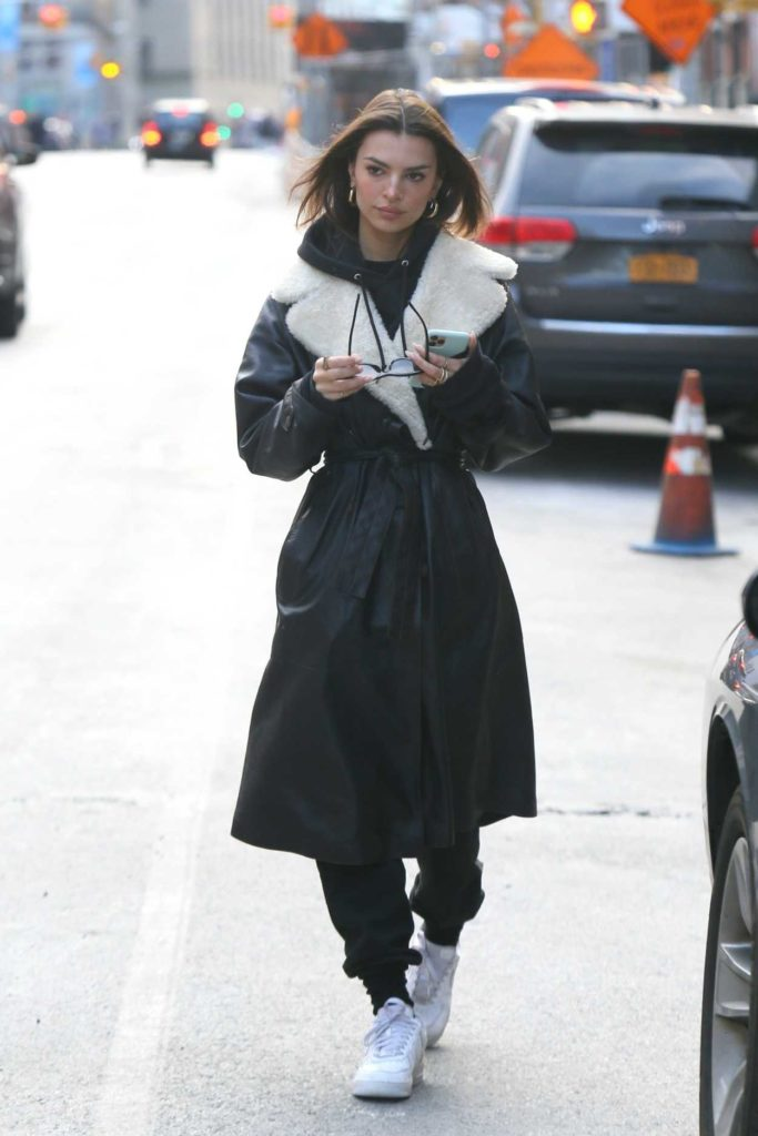Emily Ratajkowski in a Black Coat