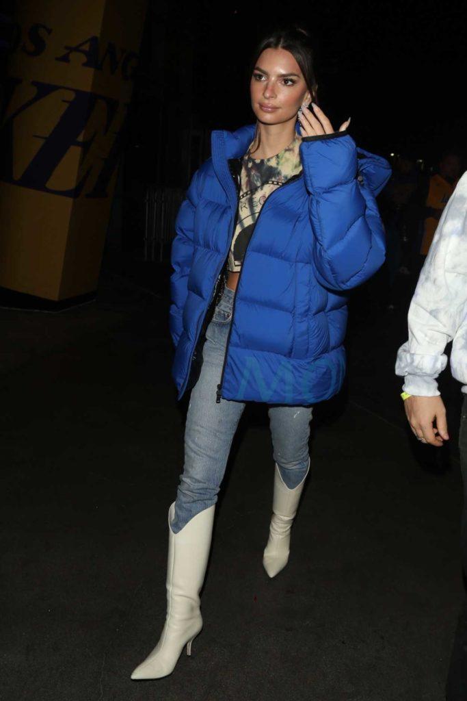 Emily Ratajkowski in a Blue Puffer Jacket