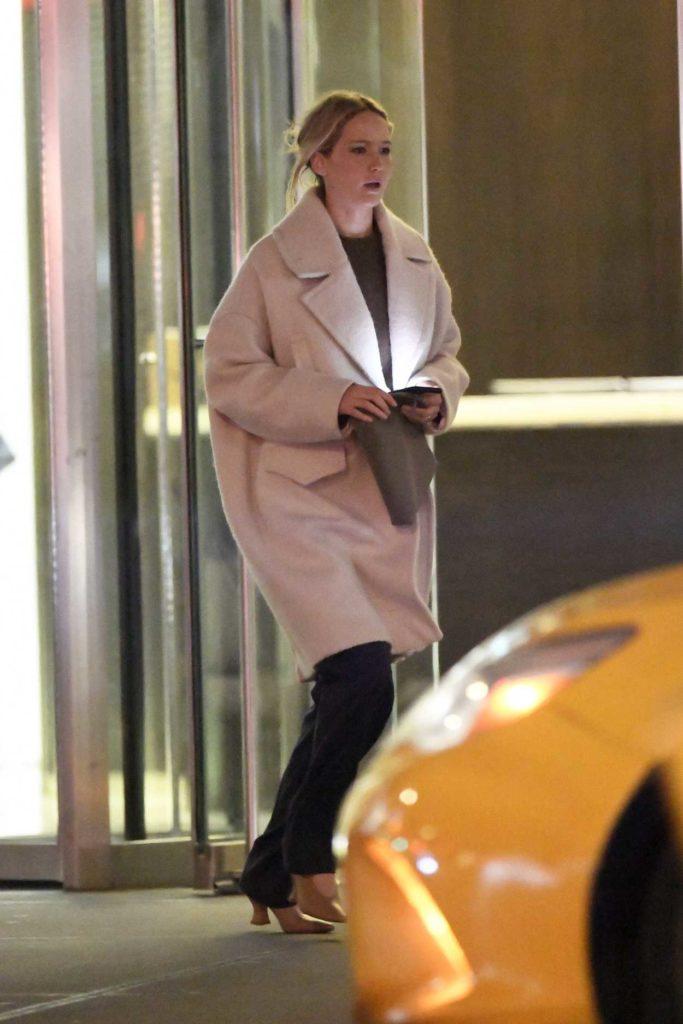 Jennifer Lawrence in a Pink Coat