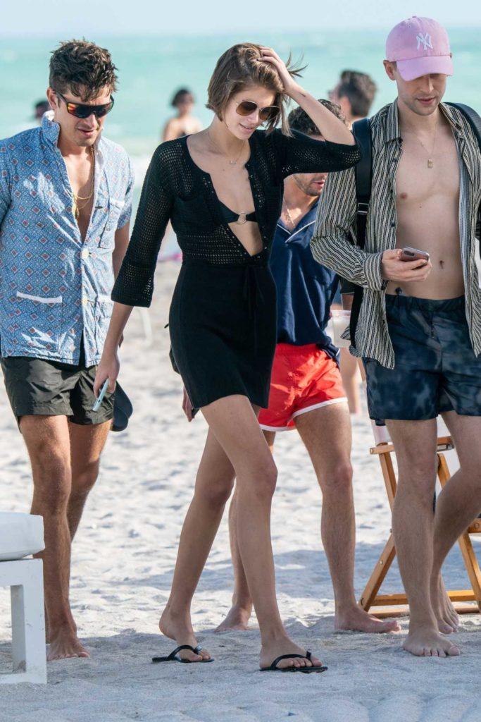 Kaia Gerber in a Black Bikini