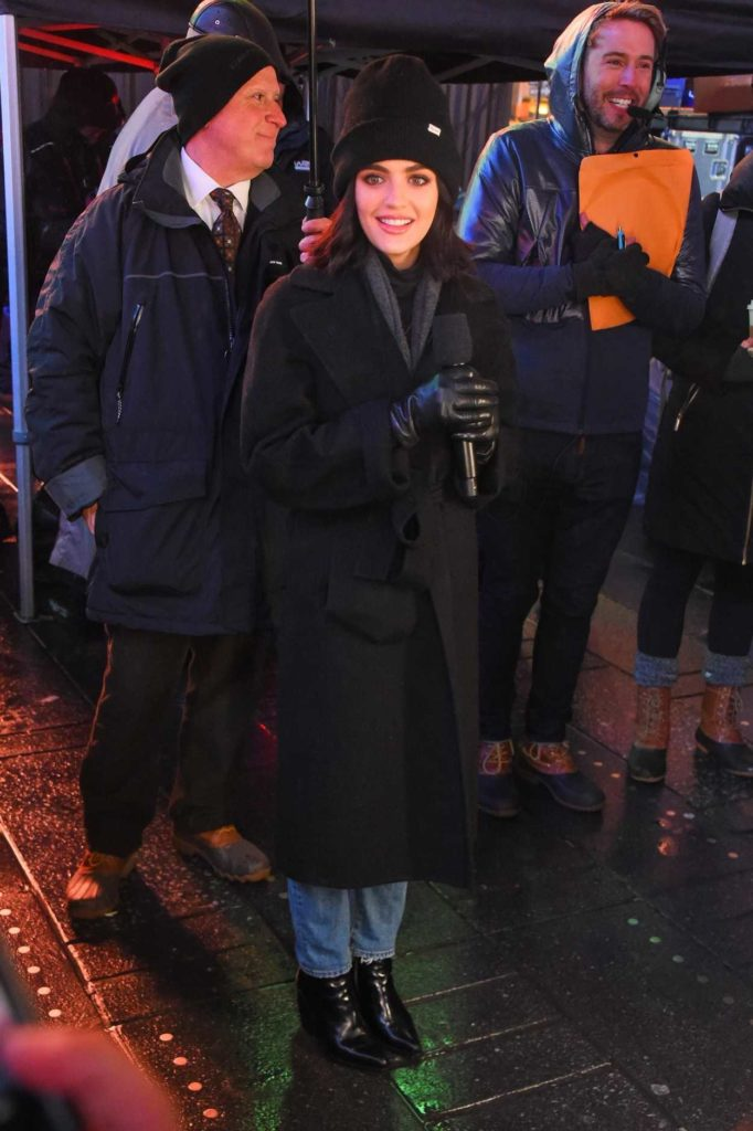 Lucy Hale in a Black Coat