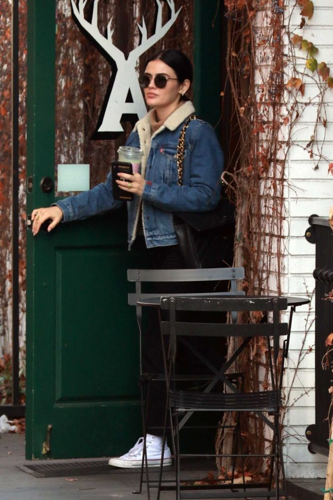 Lucy Hale in a Blue Denim Jacket