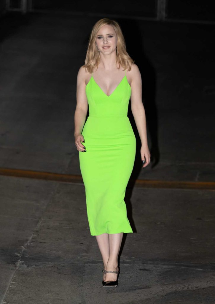 Rachel Brosnahan in a Neon Green Dress