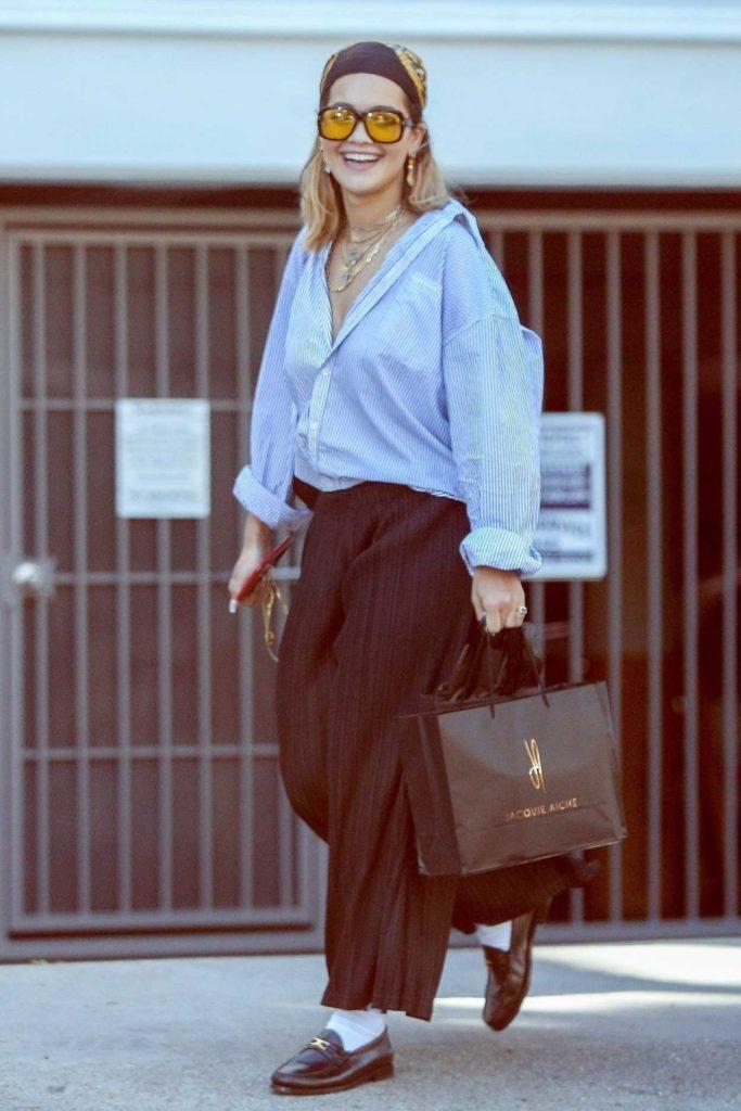 Rita Ora in a Striped Shirt
