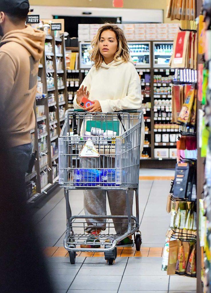 Rita Ora in a White Hoody