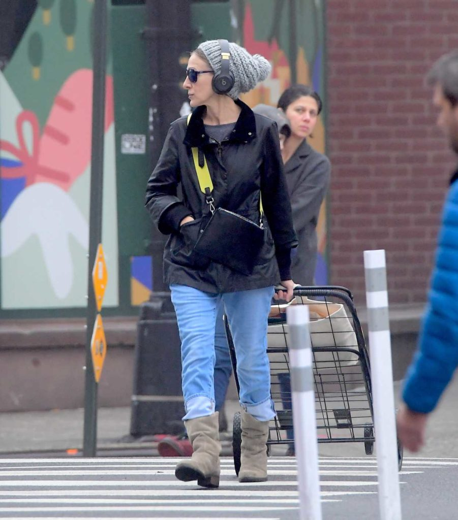 Sarah Jessica Parker in a Gray Knit Hat