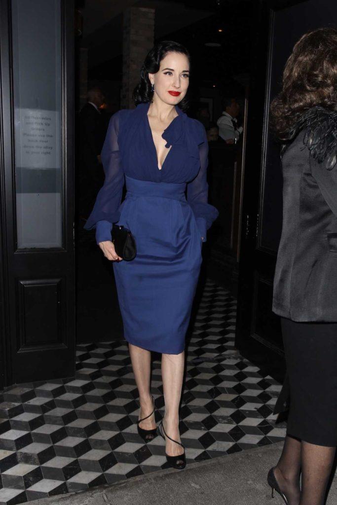 Dita Von Teese in a Blue Dress