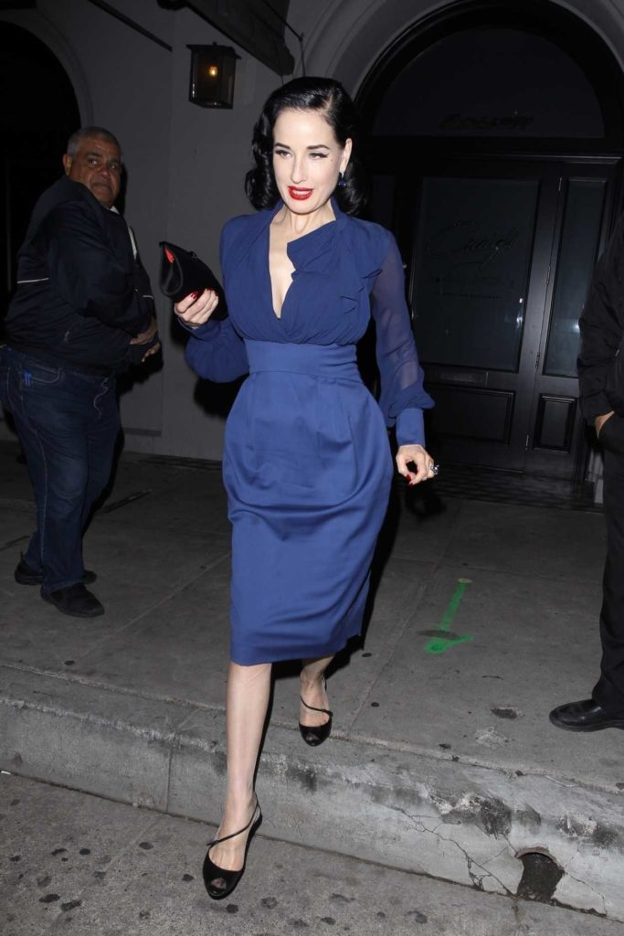 Dita Von Teese in a Blue Dress