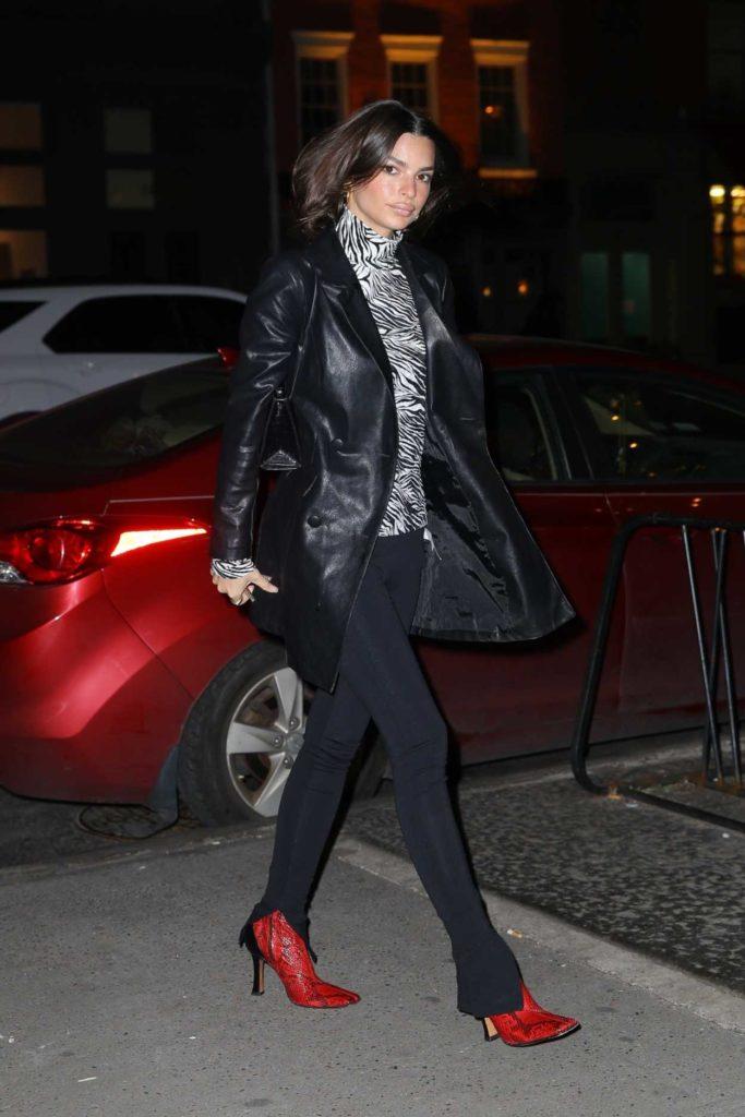 Emily Ratajkowski in a Black Leather Jacket