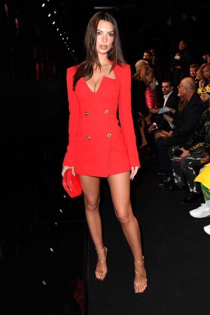Emily Ratajkowski in a Red Dress