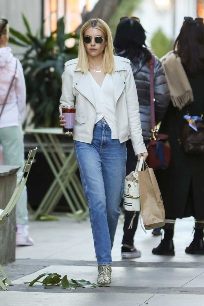 Emma Roberts in a White Jacket