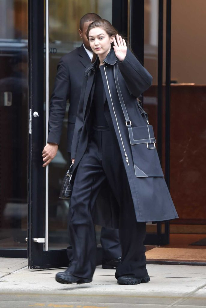 Gigi Hadid in a Black Trench Coat