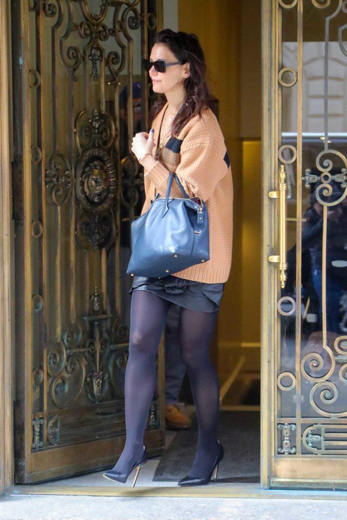 Katie Holmes in an Orange Cardigan