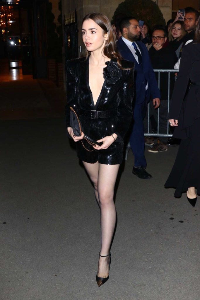 Lily Collins in a Black Dress
