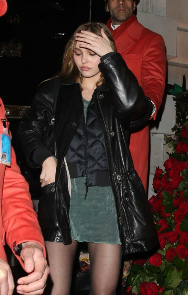 Lily-Rose Depp in a Black Leather Jacket