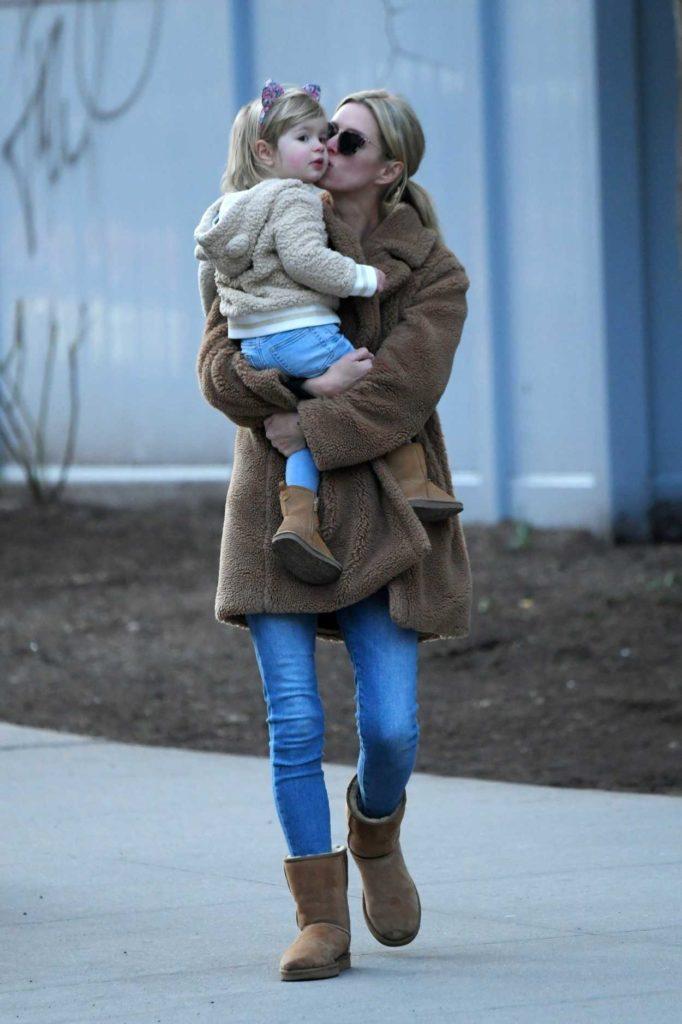 Nicky Hilton in a Beige Fur Coat