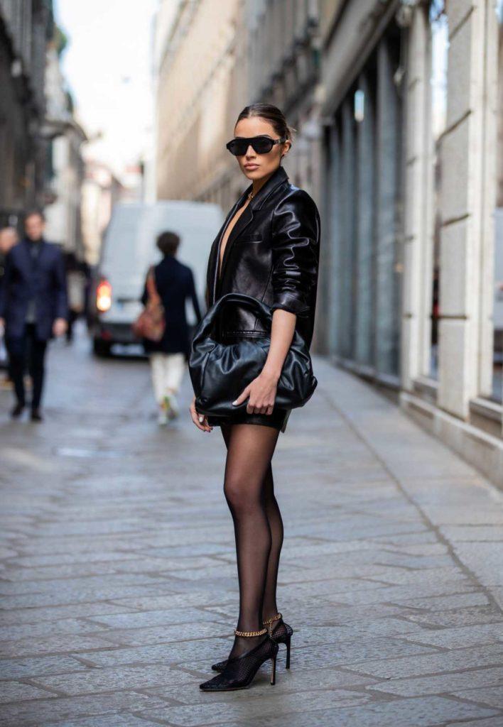 Olivia Culpo in a Black Leather Blazer