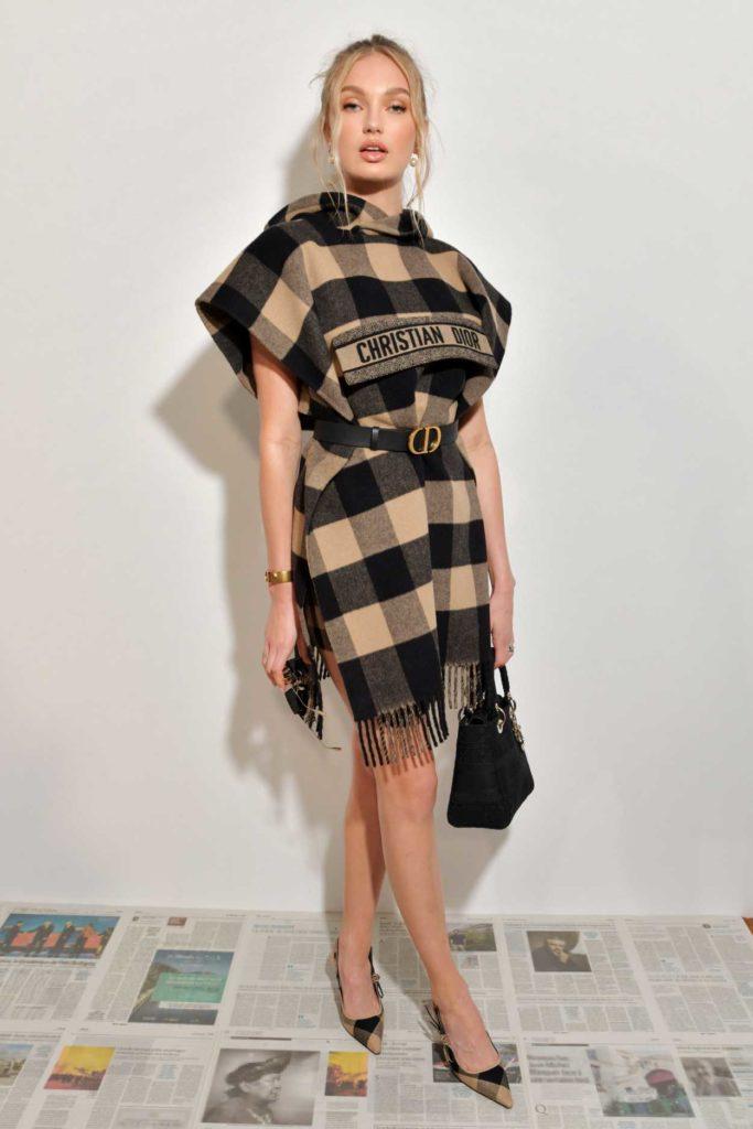 Romee Strijd in a Plaid Dress
