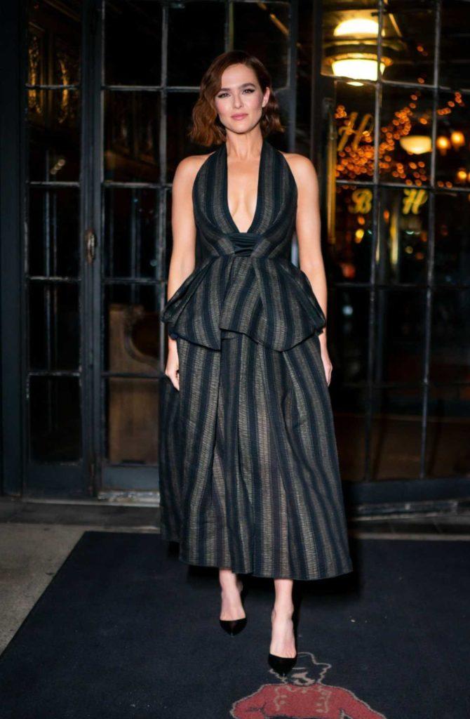 Zoey Deutch in a Striped Suit