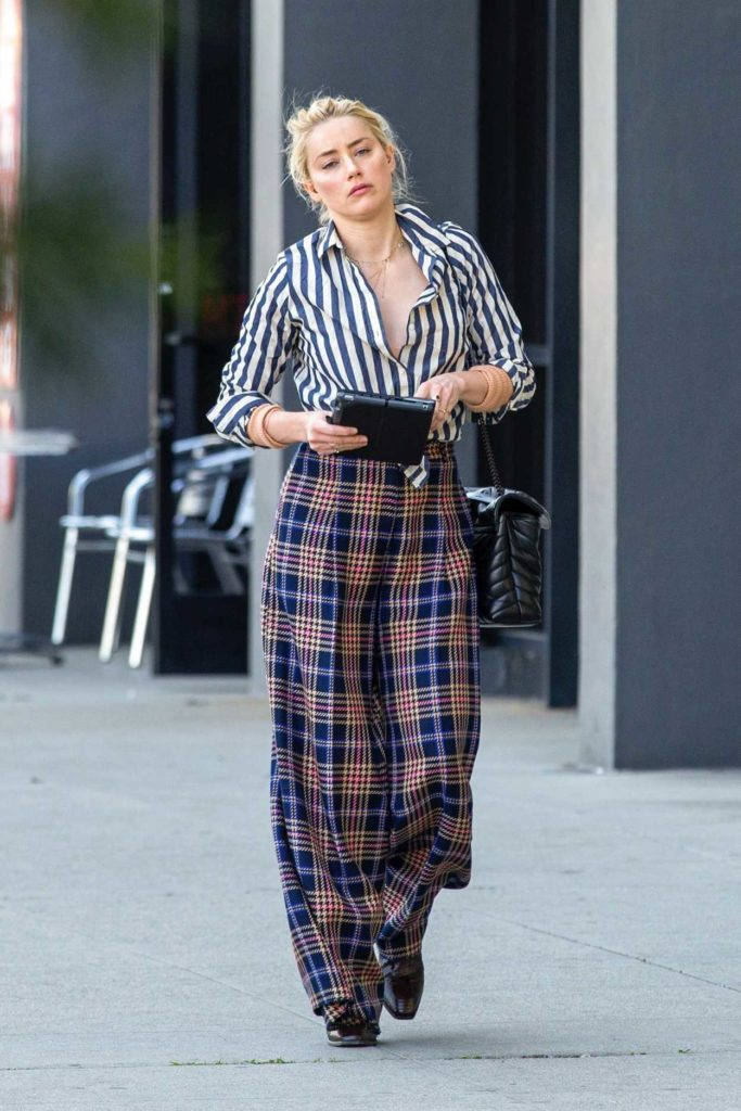 Amber Heard in a Striped Shirt