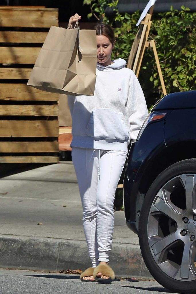 Ashley Tisdale in a White Sweatsuit