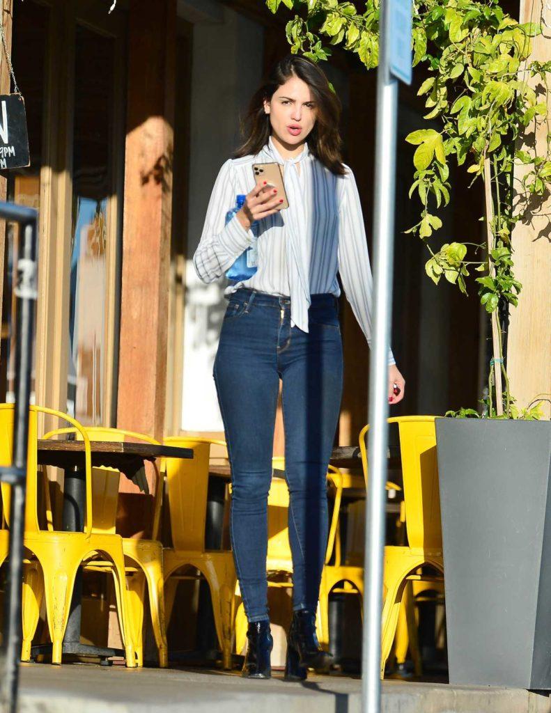 Eiza Gonzalez in a White Striped Blouse