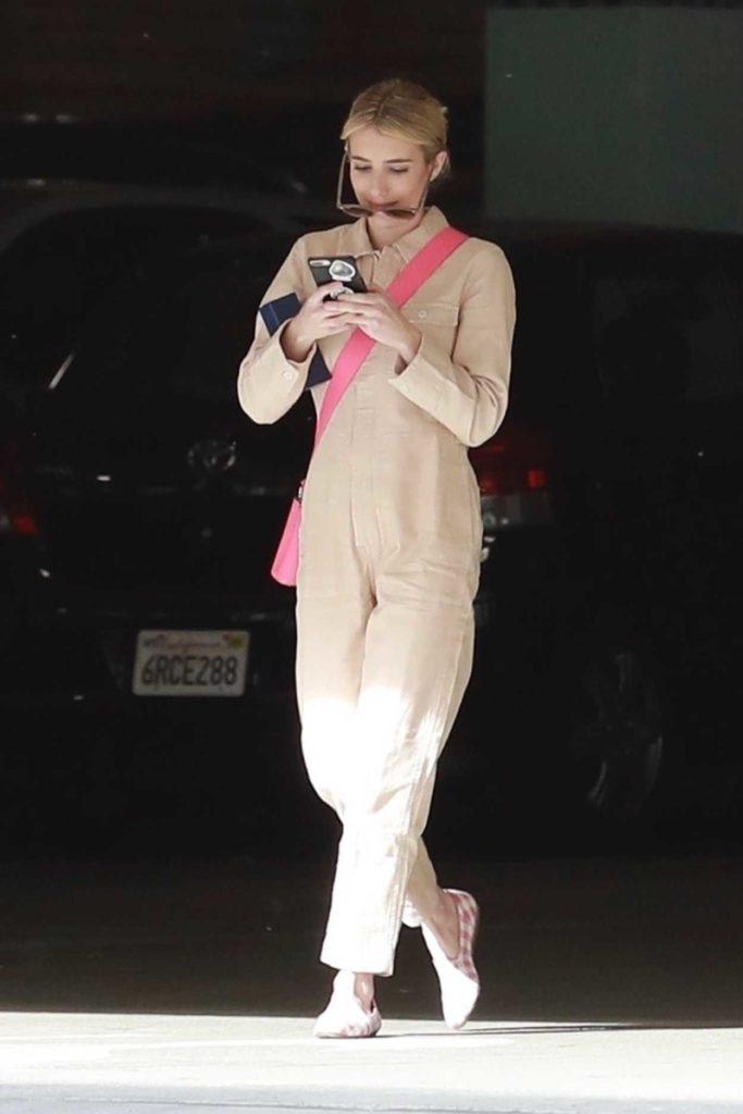 Emma Roberts in a Beige Jumpsuit