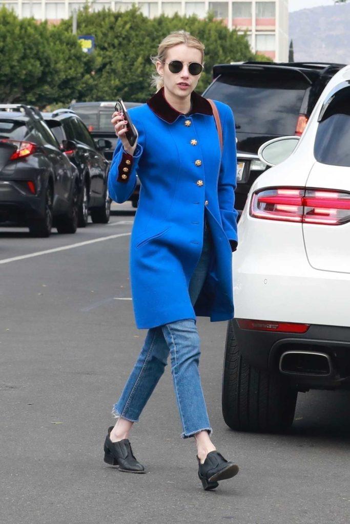 Emma Roberts in a Blue Coat
