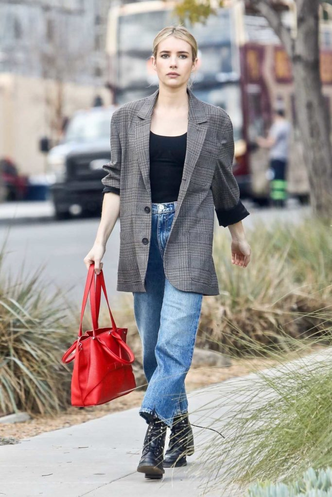 Emma Roberts in a Gray Blazer