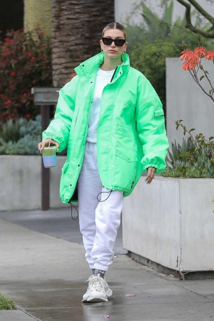 Hailey Bieber in a Green Jacket