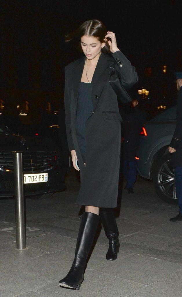 Kaia Gerber in a Black Coat
